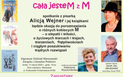 """Jacek Jakubowski gościem spotkania nietylkodla kobiet, czyli """"Cała jesteM zM"""" – 11.03.2020 godz.18.00"""