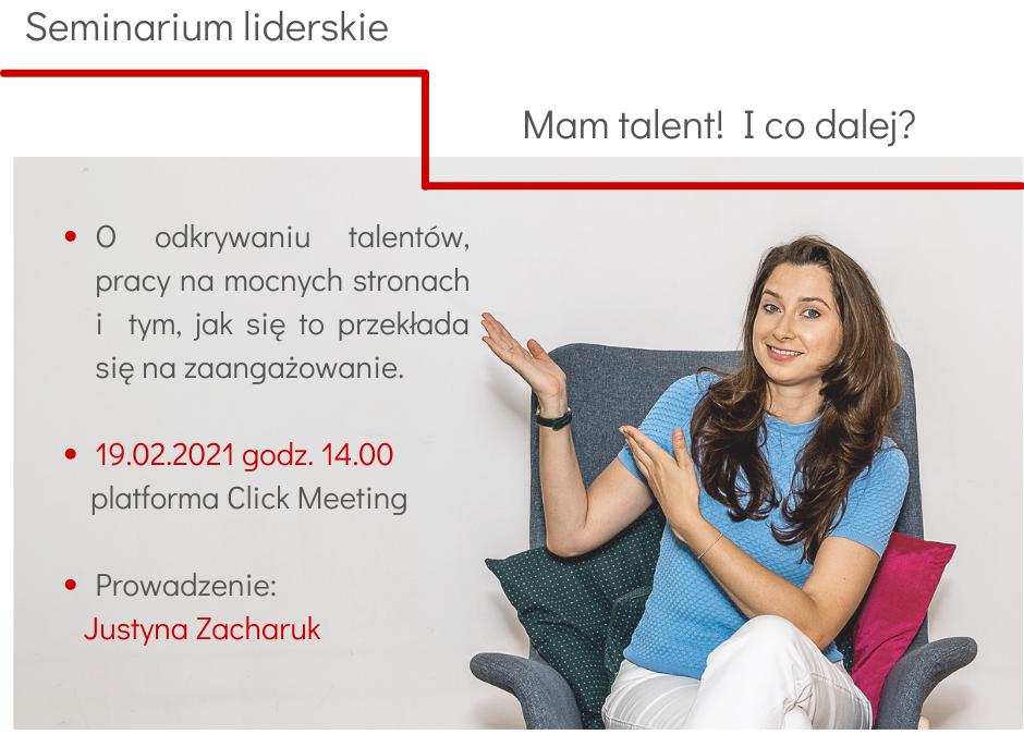 """""""Mam talent! Ico dalej?"""" seminarium liderskie – 19.02.2021 godz: 14:00-15:00"""