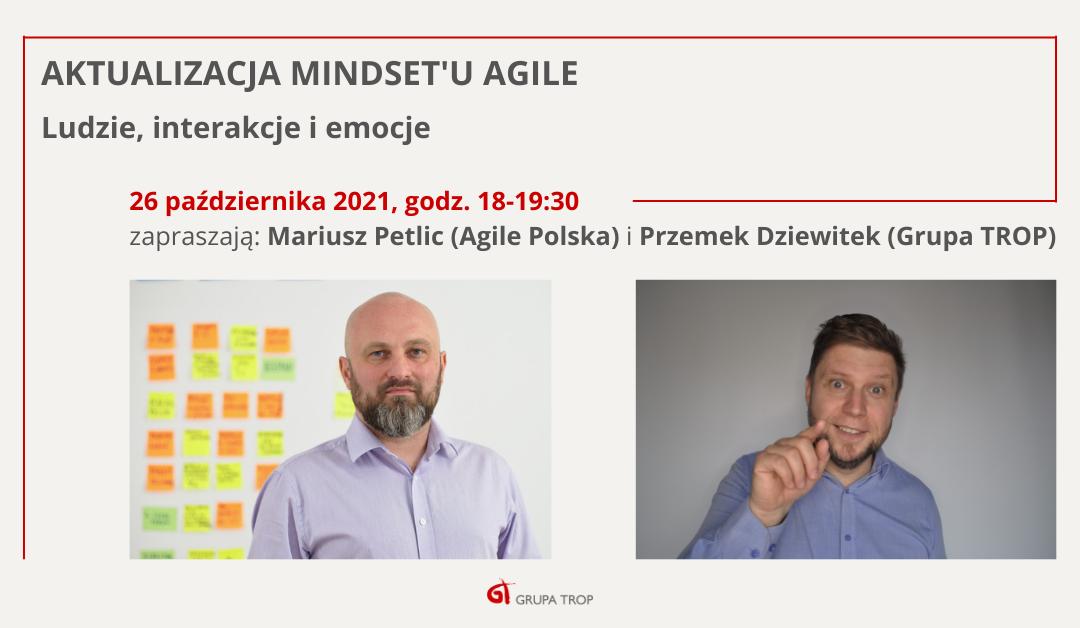 """Pierwsze spotkanie zcyklu """"Aktualizacja mindsetu Agile"""" 26.10.2021 g. 18:00"""